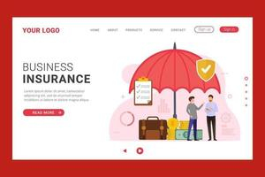 Business insurance landing page with umbrella protection vector