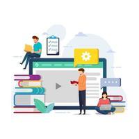 diseño educativo para curso en línea en tableta vector