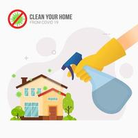 Spraying disinfectant around home for prevention