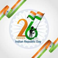 Indian Republic Day banner with ribbons in corners vector