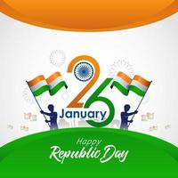 Indian Republic Day card with flags and fireworks vector