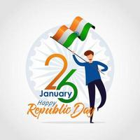 Indian Republic Day banner with man holding flag vector