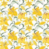 Floral seamless pattern with yellow lilies vector