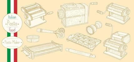 Pasta maker equipment for cooking italian food vector