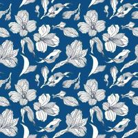 Dark blue seamless pattern with white alstroemeria buds and flowers