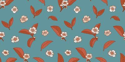 Tea flowers and leaves dark azure and brown seamless pattern vector