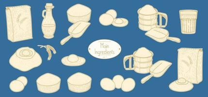 Main ingredients for Pasta recipe vector