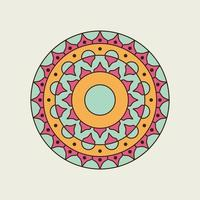 Pink, Green and Orange Pointed and Round Mandala vector