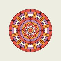 Purple and Orange Mandala with Floral Center vector