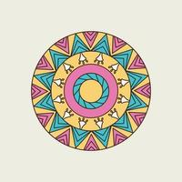 Pink, Yellow and Blue Filled Triangle Mandala vector