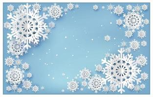 Paper art snowflakes on blue gradient vector