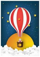Paper art hot air balloon with bear at night vector