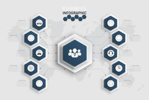 modelo de infográfico com formas de hexágono