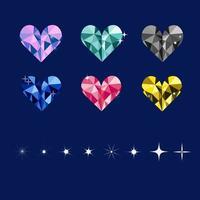 conjunto de gemas y destellos de corazones de colores vector