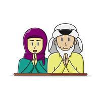 casal mais velho árabe islâmico vetor