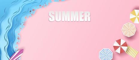 fundo de verão com guarda-chuvas e ondas