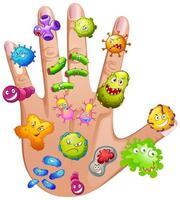 mano humana llena de diferentes virus