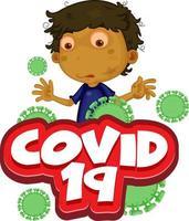 Covid 19 with sick boy feeling ill vector