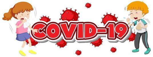 modèle de signe Covid 19 avec deux enfants malades