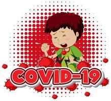 Covid 19 avec un garçon malade tousse