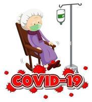 tema coronavirus con anciana enferma vector