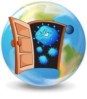 Coronavirus theme with virus cells on earth