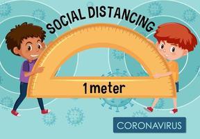 diseño de carteles de coronavirus con niños y distanciamiento social vector