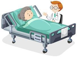 tema de coronavirus con mujer enferma y médico vector