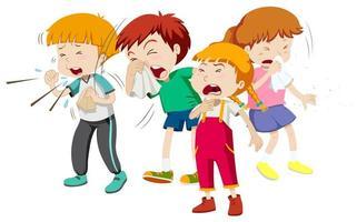 niños y niñas que tienen resfriado vector