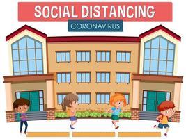 palabra de coronavirus distanciamiento social en la escuela vector