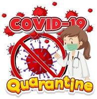 Plakatentwurf für Coronavirus-Thema mit Arzt- und Viruszellen vektor