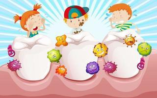 niños con dientes sucios