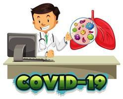 tema de coronavirus con médico y pulmones humanos vector