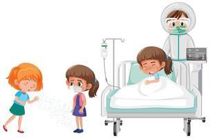 propagação de covid-19 para uma menina