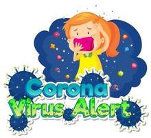 niña enferma y células virales vector