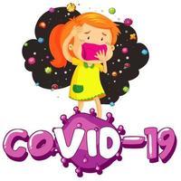 fille portant un masque pour empêcher Covid-19 vecteur