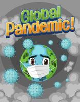 Globe wearing mask with coronavirus