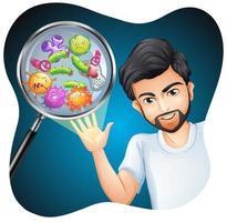 hombre barbudo con bacterias e infección en mano vector