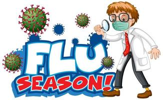 Flu season with doctor and virus cell