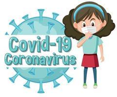 Coronavirus poster design with sick girl wearing mask vector