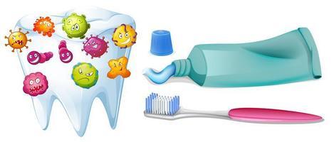 Zahn mit Bakterien und Reinigungsset vektor