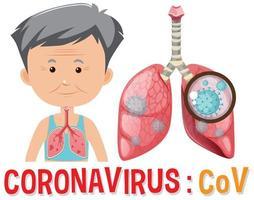 velho com covid-19 nos pulmões vetor
