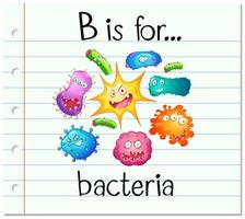 Flashcard alphabet B is for bacteria vector