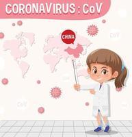 Tabla de coronavirus con científico apuntando a China en el mapa vector