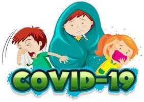 plantilla de señal 19 covid con niños enfermos