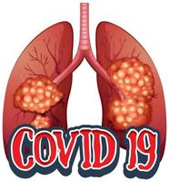 Poster design for coronavirus theme with bad lung