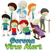 tema coronavirus con muchas personas enfermas vector