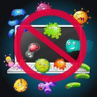 No bacteria sign on computer vector