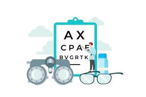 Tiny Eye Doctor Standing on Glasses Pointing at Chart