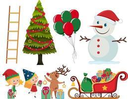 conjunto de elementos de navidad y vacaciones
